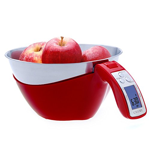 Camry 11lb / 5kg Precision Digital Mixing Bowl Kitchen Scale Stainless Steel Five Measuring Modes (Red)