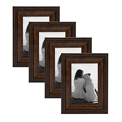 DesignOvation Martinez Wall Hanging or Table Standing Decorative Picture Frame Set, Antique Copper 4x6, Pack of 4