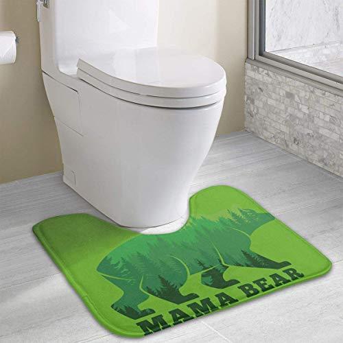 Bennett11 Mama Bear Mama Gifts Mom Gifts Contour Bath Rugs,U-Shaped Bath Mats,Soft Memory Foam Bathroom Carpet,Nonslip Toilet Floor Mat 19.2″x15.7″