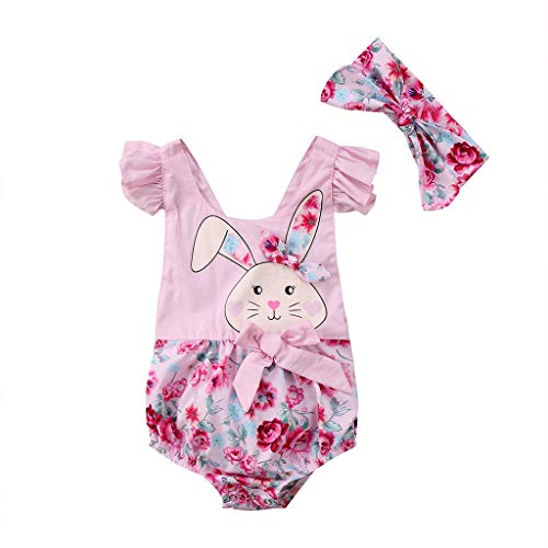 Family Clothes Matching, Easter Floral Newborn Baby Girls Bunny Romper Jumpsuit Headband Outfits Clothes 12M Pink -