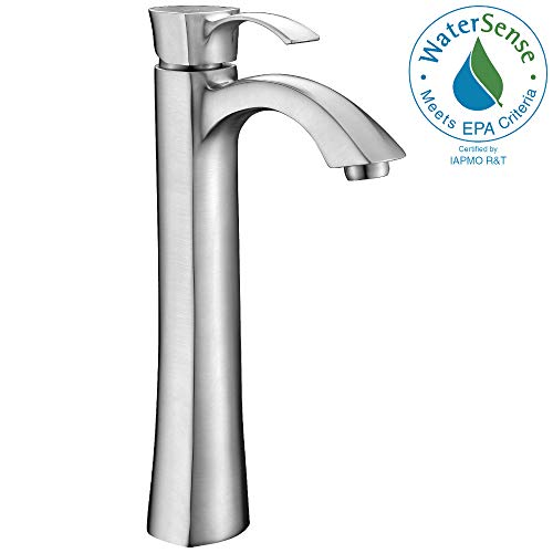 ANZZI Harmony Single Handle Single Hole Bathroom Sink Faucet in Commercial Brushed Nickel | Vessel Basin Sinks Waterfall Deck Mounted cUPC Lavatory Faucet | Valve included | L-AZ095BN ()