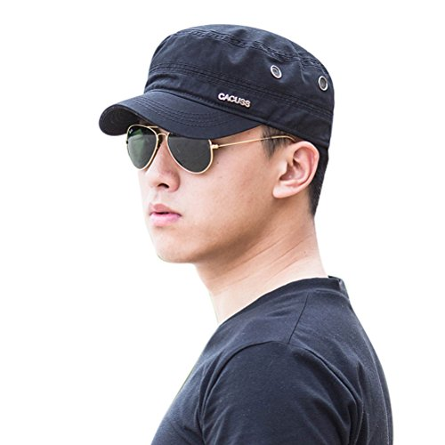 CACUSS Men's Cotton Army Cap Cadet Hat Military Flat Top Adjustable Baseball Cap(Navy)