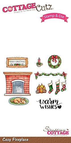 CottageCutz Cozy Fireplace Stamp & Die Set