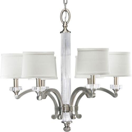 Hollywood Four Light Pendant (Progress Lighting P4501-101 6-Light Roxbury Chandelier, Classic Silver)