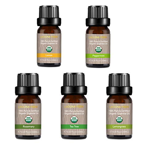 Lagunamoon Essential Oils Top 5 USDA Certified Organic Essential Oil Lemongrass Lemon Peppermint Rosemary Tea Tree for Diffuser,Humidifier,Massage,Aromatherapy,Skin & Hair Care ()