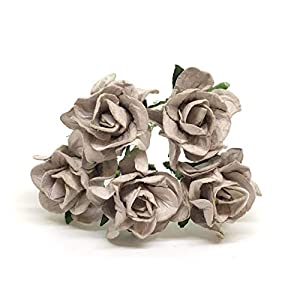 3.5cm Grey Mulberry Paper Rose Flowers with Wire Stems DIY Wedding Favor Decor Paper Bouquet Artificial Flowers Crafts Home Decorations, 25 Pieces 104