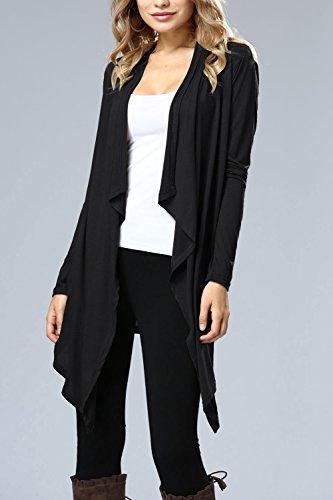 La Mujer Casual De Manga Larga Sólido Frente Abierto Irregular Oficina Outcoat Outwear Black
