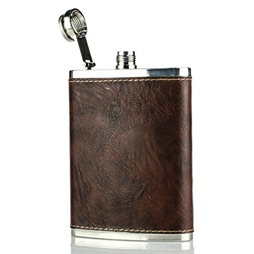 Ezeso 8oz Stainless Steel Hip Flask Portable PU Flagon Outdoor For Tourism,Camping