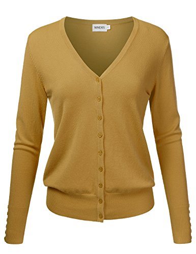 NINEXIS Womens Basic Long Sleeve V-Neck Button Down Knit Cardigan Sweater DARKMUSTARD L