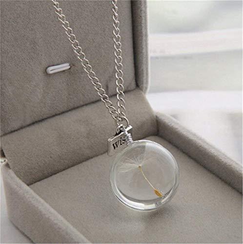 Heyuni.Wish Dandelion Clear Glass Ball Pendant Necklace Silver Tone Link Curb Chain Make a Wish