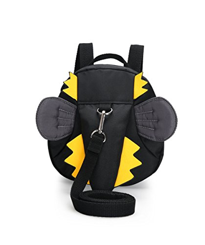 Amint Dinosaur Design Toddler School Bag Leash Harness Backpack Black (Kids Plush Dinosaur Wings Costume)