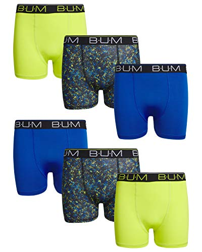 B.U.M. Equipment Boys' Performance Dri-Fit Compression Boxer Briefs (6 Pack) (Blue/Lime/Multi, Large / 12-14)' ()