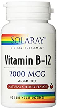 Solaray Vitamin B-12, 2000 MCG, Cherry Flavor, 90 Sublingual Lozenges