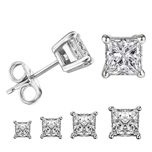 LIEBLICH Princess Cut Cubic Zirconia Stud Earrings Stainless Steel Square Earrings Set 4 Pairs 3mm-6mm (Silver)