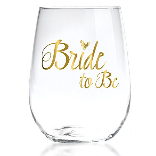 Bride To Be Stemless Wine Glass with 22k Liquid Gold Lettering - Elegant Gift for Engagement, Bridal Shower, Bachelorette Party - 17oz ()