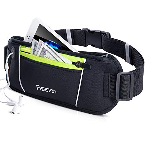 FREETOO Running Belt, Running Waist Pack Bounce Free Waist Pouch Exercise Workout Belt for Women&Men, Ideal for Apple iPhone 8/7/6s/6 (Black&Green) (Slim)