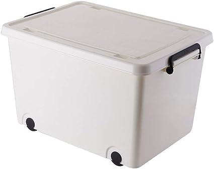 Caja de almacenamiento grande de plástico para guardar ropa de edredón, caja de almacenamiento de juguetes, caja de almacenamiento de polea de almacenamiento de color blanco, blanco marfil, 45*31*27cm: Amazon.es: Oficina y