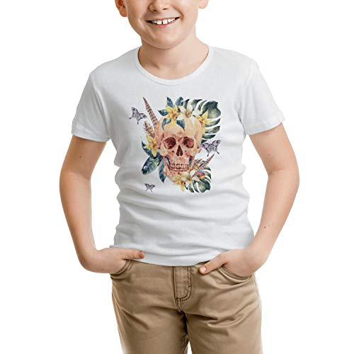 - RFTER Watercolor Skull Butterfly Children T Shirt White Cotton Comforsoft Short Sleeve