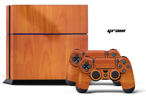 PS4 Designer Skin for Sony PlayStation 4 Console System plus Two(2) Decals for: PS4 Dualshock Controller - Grain
