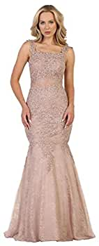 Royal Queen RQ7544 Wedding Destination Mermaid Evening Gown (Mauve, 4) at Amazon Womens Clothing store: