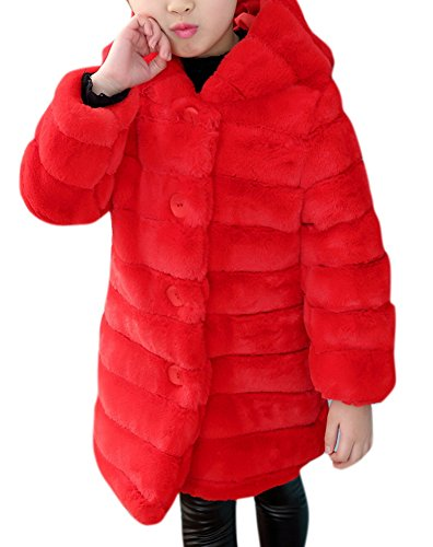 Girl's Long Warm Faux Fur Coat Thicken Fake Fox Hooded Front Button Jacket 140/8 Red