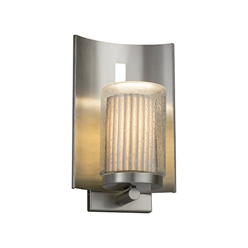Limoges - Embark 1-Light Outdoor Wall Sconce - Cylinder with Flat Rim Translucent Porcelain Shade with Pleats Design - Brushed Nickel Finish