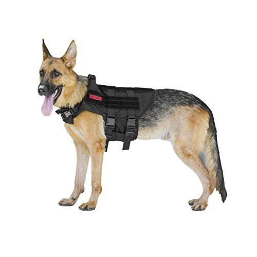 OneTigris K9 Tactical Dog Harness Patrol Dog Vest with Comfortable Adjustable Neck Protection Straps & Durable Handle (Black, -