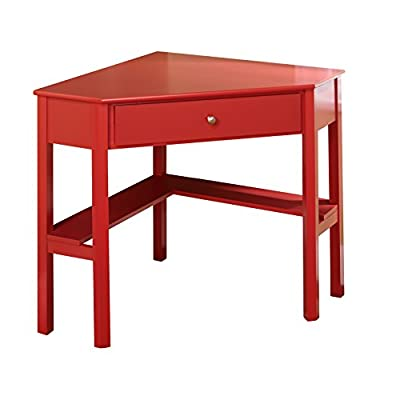 "Target Marketing Systems Ellen Corner Desk with One Drawer and One Storage Shelf, Red - The Corner Desk Measures 42"" X 28"" X 30"" and Weighs 36 Lbs. Arrives with Only Minimal Assembly Required. Comfortably Fitting in Any Home, Studio, Apartment, and Office, the Small Corner Writing Desk Maximizes Space in Compact Rooms. An Ideal Work Station or Vanity, the Corner Desk Serves a Variety of Functions. Featuring a Classic, Timeless Style, the Writing Desk is the Perfect Place for a Small Work Station. With Enough Tabletop Space for a Desktop Display or Laptop, the Corner Desk also has One Drawer and One Shelf to Store any other Items You May Have. - writing-desks, living-room-furniture, living-room - 41PgiLFez4L. SS400  -"