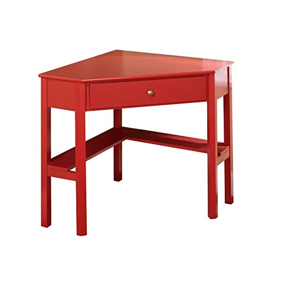 "Target Marketing Systems Ellen Corner Desk with One Drawer and One Storage Shelf, Red - The Corner Desk Measures 42"" X 28"" X 30"" and Weighs 36 Lbs. Arrives with Only Minimal Assembly Required. Comfortably Fitting in Any Home, Studio, Apartment, and Office, the Small Corner Writing Desk Maximizes Space in Compact Rooms. An Ideal Work Station or Vanity, the Corner Desk Serves a Variety of Functions. Featuring a Classic, Timeless Style, the Writing Desk is the Perfect Place for a Small Work Station. With Enough Tabletop Space for a Desktop Display or Laptop, the Corner Desk also has One Drawer and One Shelf to Store any other Items You May Have. - writing-desks, living-room-furniture, living-room - 41PgiLFez4L. SS570  -"