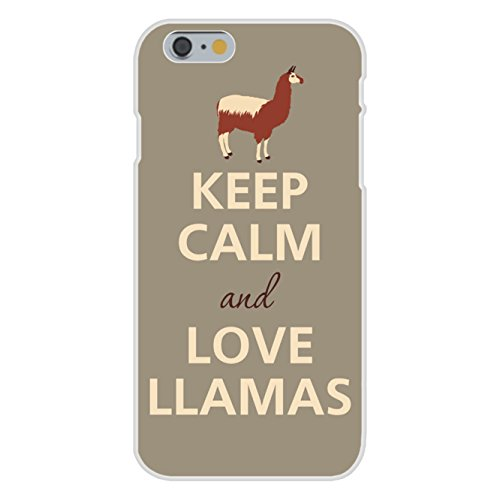 Apple iPhone 6+ (Plus) Custom Case White Plastic Snap On - Keep Calm and Love Llamas by Hat Shark (Hat Napoleon)
