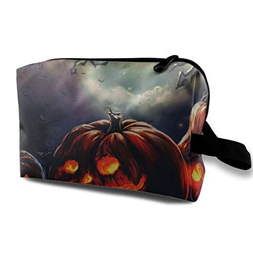 Halloween Black Pumpkin Devil Scary Multi-function Travel Makeup Toiletry Coin Bag Case ()