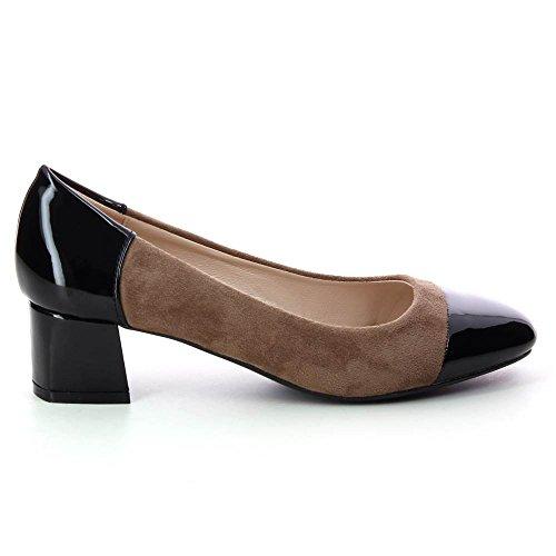 Go Tendance - Zapatos bimaterial de tacón cuadrado 4.50 cm - Mujer Beige