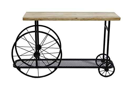 Metal Console Base - Benzara BM119862 Industrial Design Sofa Console Table With Wooden Top And Metal Wheels Base, Sand Black