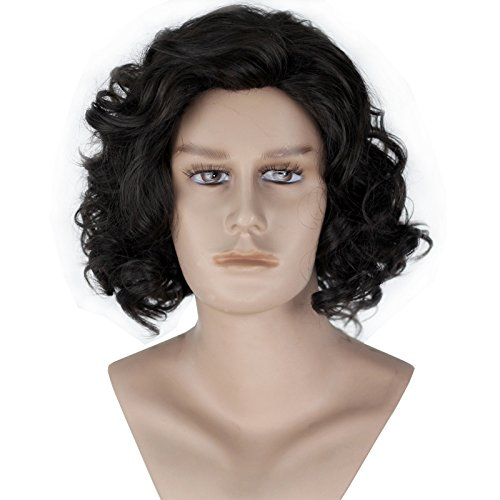 Miss U Hair Unisex Men Adult Short Curly Natural Black Color Cosplay Costume Full Wig Halloween Hair -