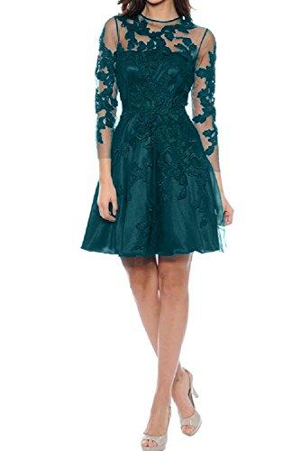 Aermel Ivydressing Festkleid A Partykleid Rundkragen Abendkleid Linie Tuell Applikation Damen Blaugruen 3 Ballkleid Mini 4 Spitze xtrxqPwO