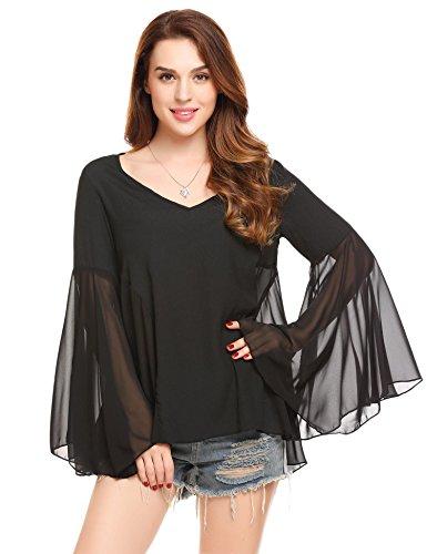 Chiffon Bell Sleeve (Zeagoo Women's Chiffon Blouse Bell Sleeve V Neck Shirt Elegant Flowy Tee Top Black Medium)
