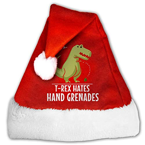 Red and White Christmas Hat, Cute T-Rex Hates Hand Grenades Christmas Beanie for Childrens and Adults ()