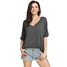 ACEVOG Women's Casual V Neck Roll Over Batwing Sleeve Solid Loose Top Blouse T-Shirt