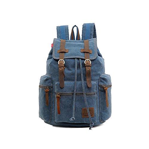 VRIKOO Unisex Casual Canvas Leather Backpack Shoulder Laptop Bag Daypacks for School Travel (Grey) Azul