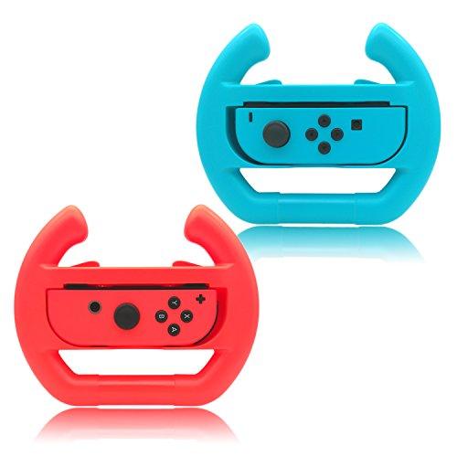 Joy-con Steering Wheel For Switch Controller, Fastsnail Joncon Steering Wheel (set Of 2) Blue And Re