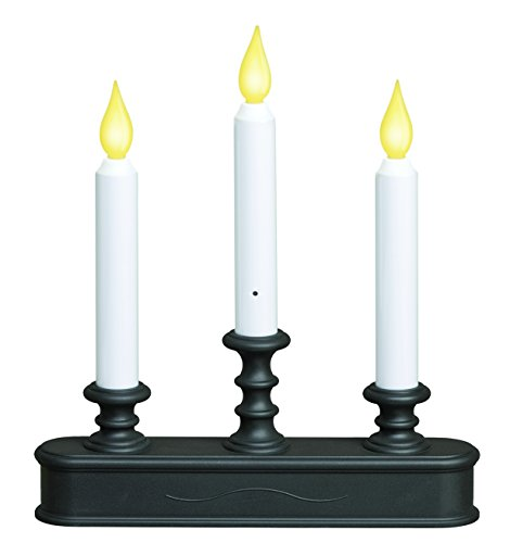 XODUS INNOVATIONS Battery Operated LED Dusk to Dawn 3-Tier Candelabra Window Candle with Amber Flicker Flame