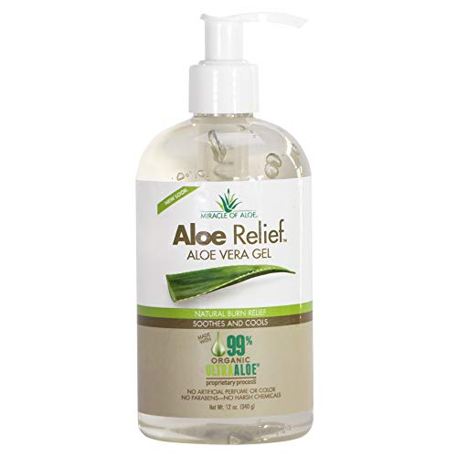 Aloe Relief Aloe Vera Gel 99% Pure Certified Organic made FRESH from the plant with naturally Enhanced UltraAloe Gel | No Parabens | No Fragrance | Cruelty Free | 12 ounce bottle with pump. ()