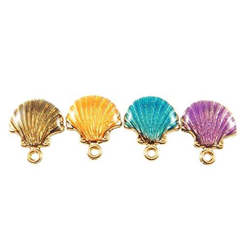 Enamel Shell (JulieWang 32pcs Mixed Enamel Shell Charm Pendant for Jewelry Making 18x15mm)