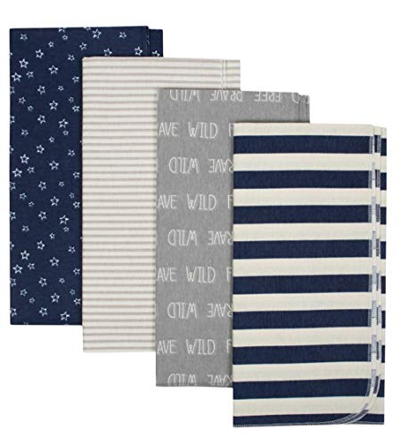 - Gerber Organic Cotton Flannel Receiving Blankets, 4pk (Baby Boys) Blue and Tan