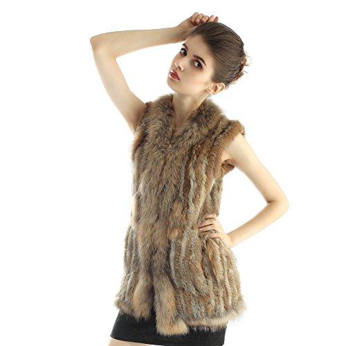 Chaleco tejido sin mangas de la piel de conejo para inverno cálido Amarillo