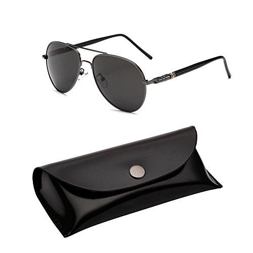 Unisex Men Women Classic Aviator Metal Designer Sunglasses with Case (Gray) - 3