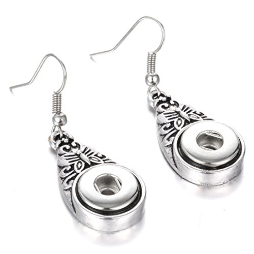 Mymate Snap Jewelry Vintage Metal 12mm Snap Earrings Fashion Mini Button Drop Earrings for Women DIY (Vintage Button Earrings)