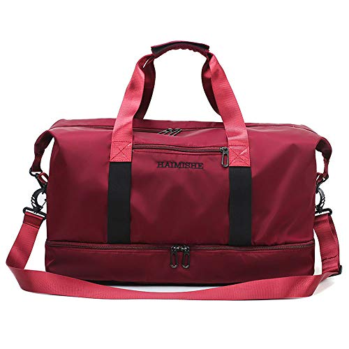 - Gym Travel Bag with Shoe Compartment Dance Bag Duffle Tote Shoulder Bag for Men and Women Messenger Water Resistant Bags (wine red)