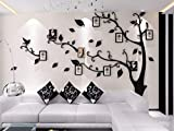 Unitendo 3D Wall Stickers Photo Frames FamilyTree Wall Decal Easy to Install &Apply DIY Photo Gallery Frame Decor Sticker Home Art Decor (Black leaves-Right, L)