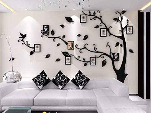 Acrylic Stickers (Unitendo 3D Acrylic Wall Stickers Photo Frames FamilyTree Wall Decal Easy to Install &Apply DIY Photo Gallery Frame Decor Sticker Home Art Decor (Black Leaves-Right, L))